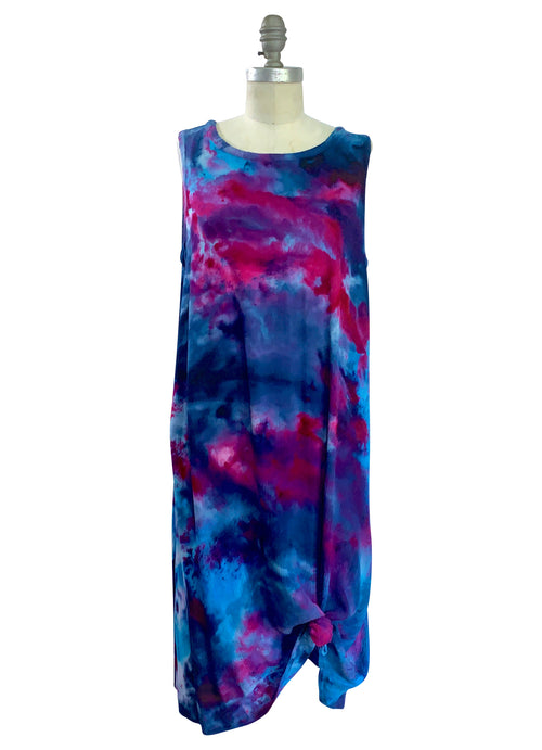 Sleeveless A-Line Dress (Rayon Gauze) in Midnight Fuchsia