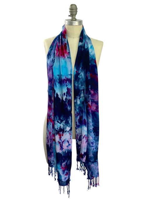 Oblong Scarf with Fringe in Midnight Fuchsia
