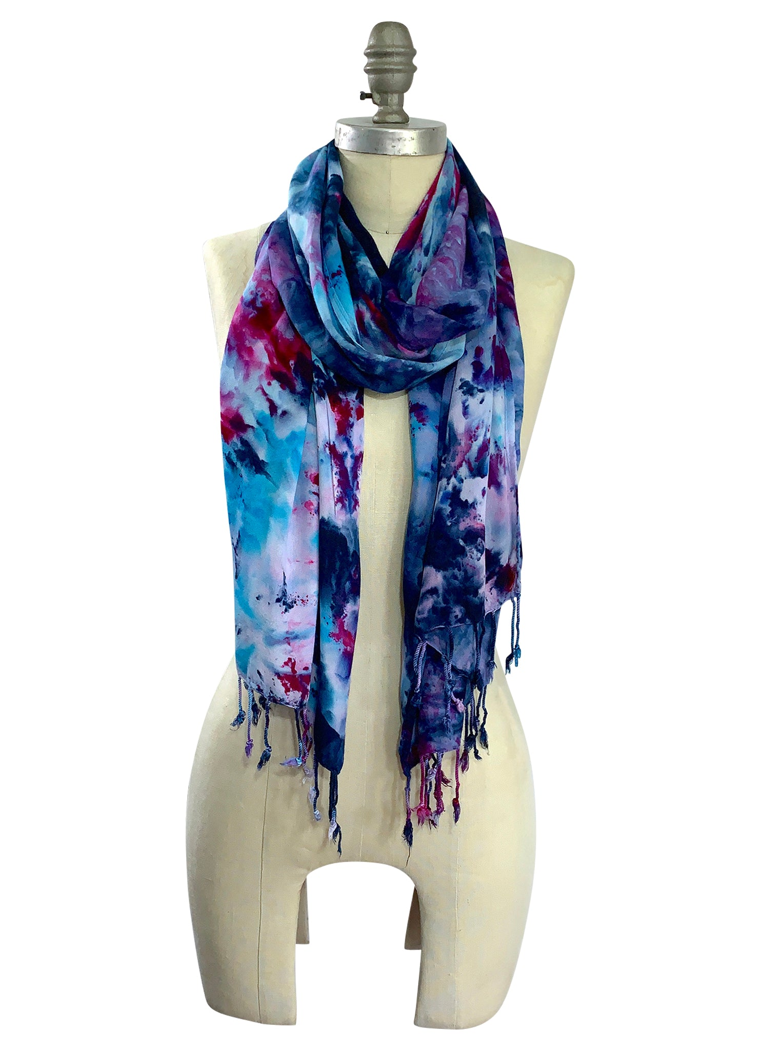 Oblong Scarf with Fringe in Midnight Fuchsia -  - Dyetology