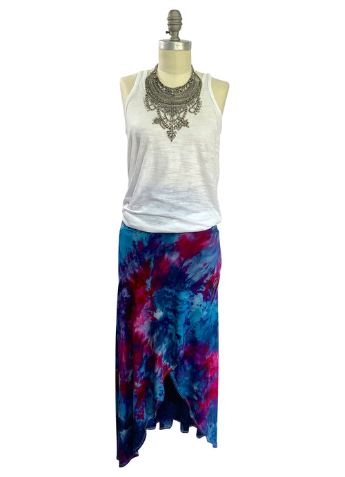 Split Hem Maxi Skirt in Midnight Fuchsia