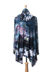 Hand Dyed Drape Front Hoodie in A Night Out - Dyetology