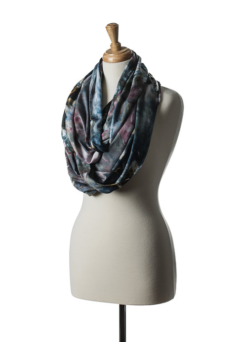 "Hand Dyed Rayon Infinity Scarf in ""A Night Out"" - Infinity Scarves - Dyetology"