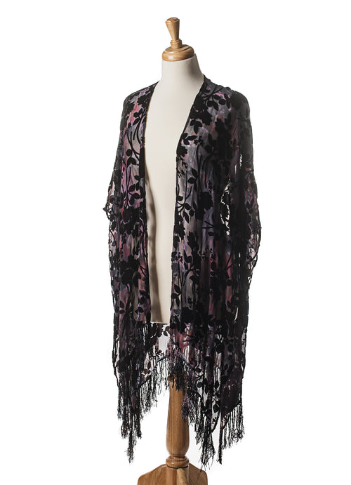 A Night Out Velvet Burn-Out Fringe Shawl - Velvet Burnout Fringe Shawls - Dyetology