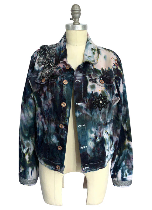 "Large Hand-Dyed Black and Gray Denim Jacket  - ""Bling Ring"""