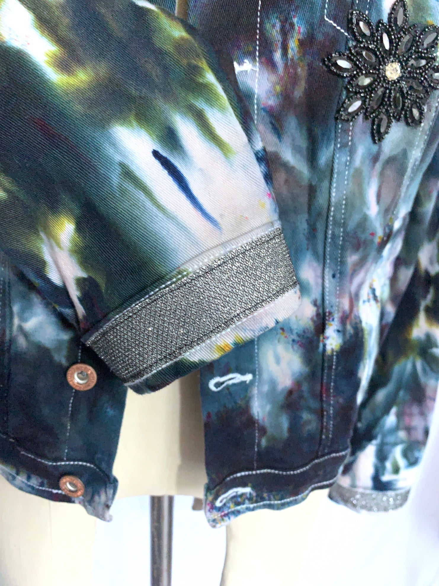 Large Hand-Dyed Black and Gray Denim Jacket  -