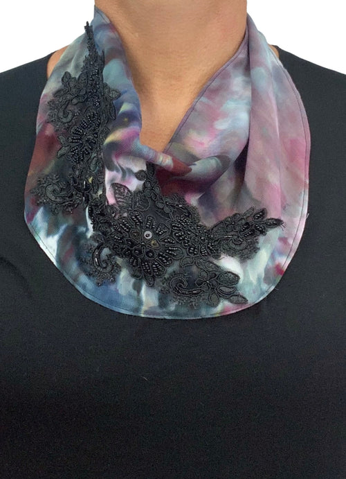 "Scarf Necklace in ""A Night Out"" with Black Lace - scarf necklace - Dyetology"