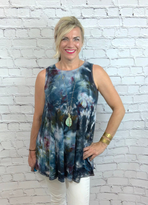 "Hand Dyed A-Line Tunic Tank in ""A Night Out"" - Dyetology"