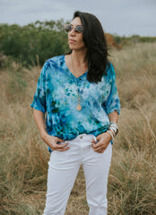 Hand Dyed Blue Easy Rayon Shirt