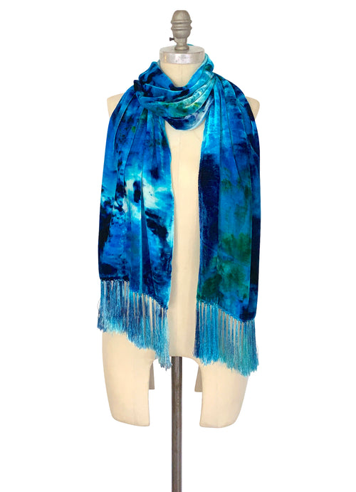 Silk Rayon Velvet Scarf with Fringe in Aquarius - Velvet Burnout Scarf - Dyetology