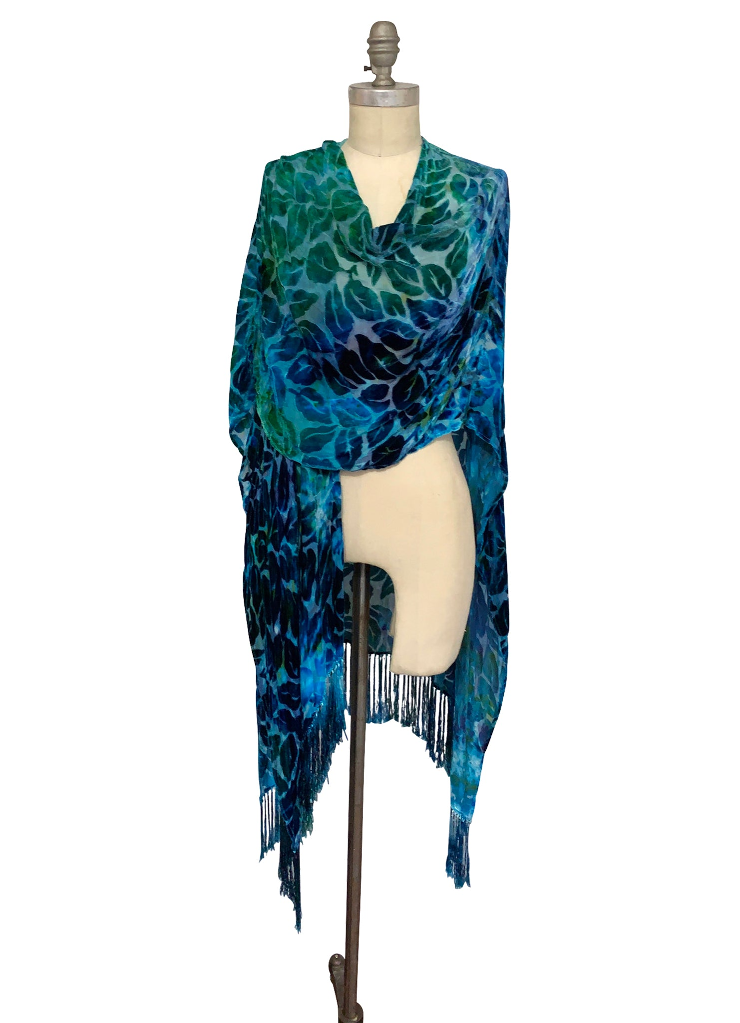 Velvet Burn-Out Fringe Shawl in Turquoise - Velvet Burnout Fringe Shawls - Dyetology