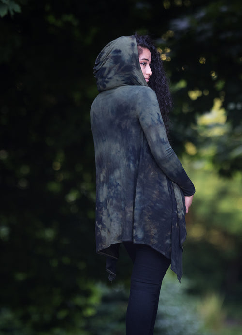Hand Dyed Drape Front Hoodie in Army Reserve - Top - Dyetology