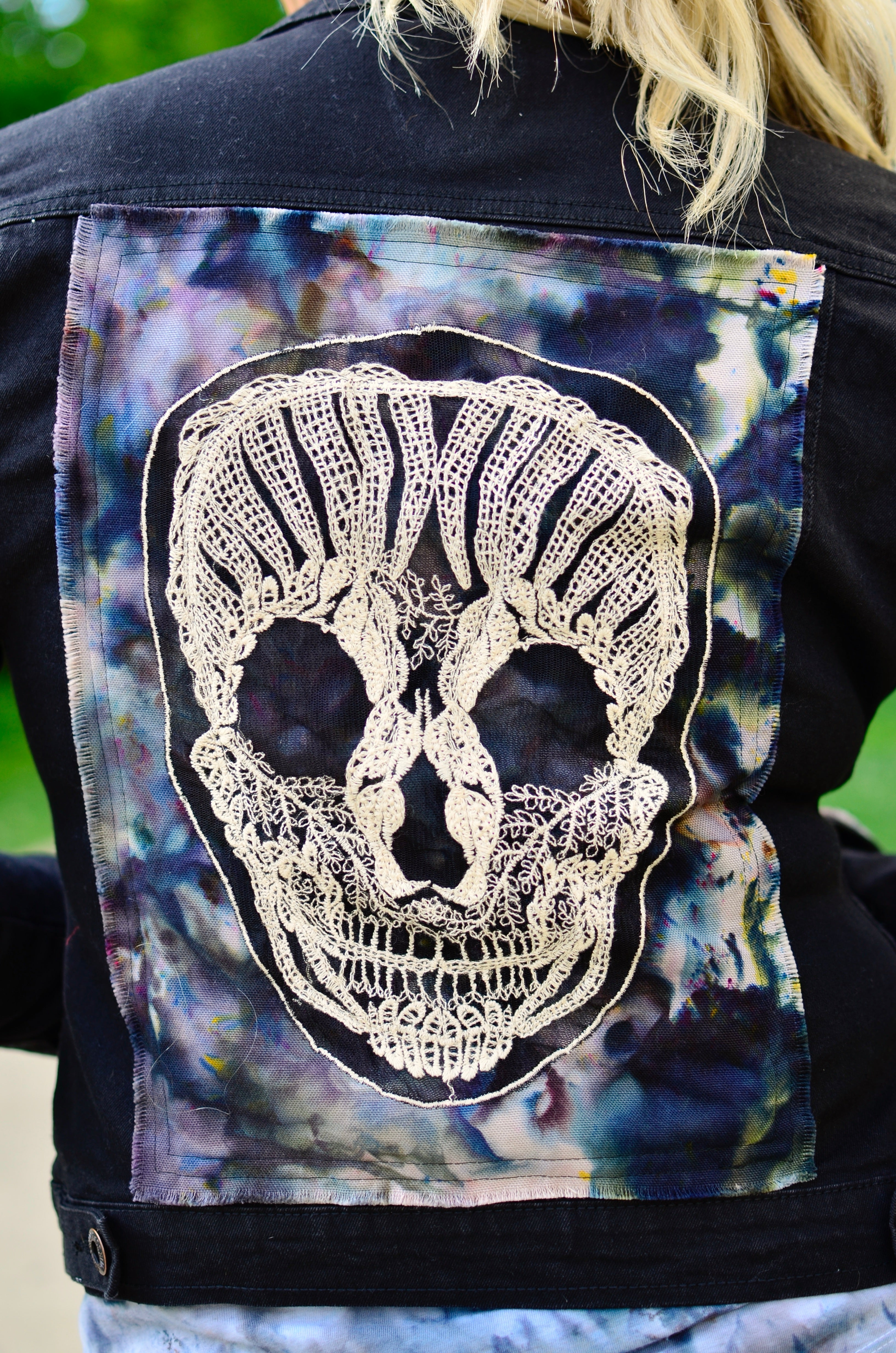 Small Hand-Dyed Denim Jacket with Skulls -