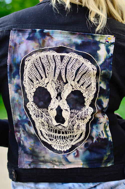 "Small Hand-Dyed Denim Jacket with Skulls - ""Skull-a-Palooza"""