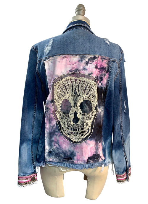 "Hand-Dyed Denim Jacket  - ""Skully"" (S/M) - Top - Dyetology"