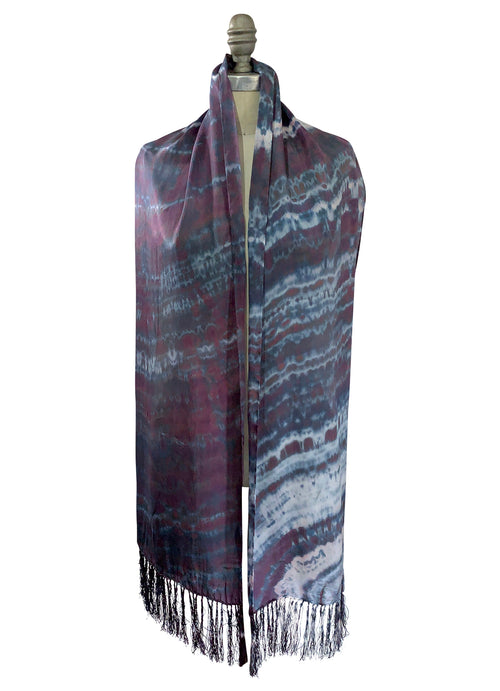 Black and White Silk Scarf with Fringe - Scarves - Dyetology