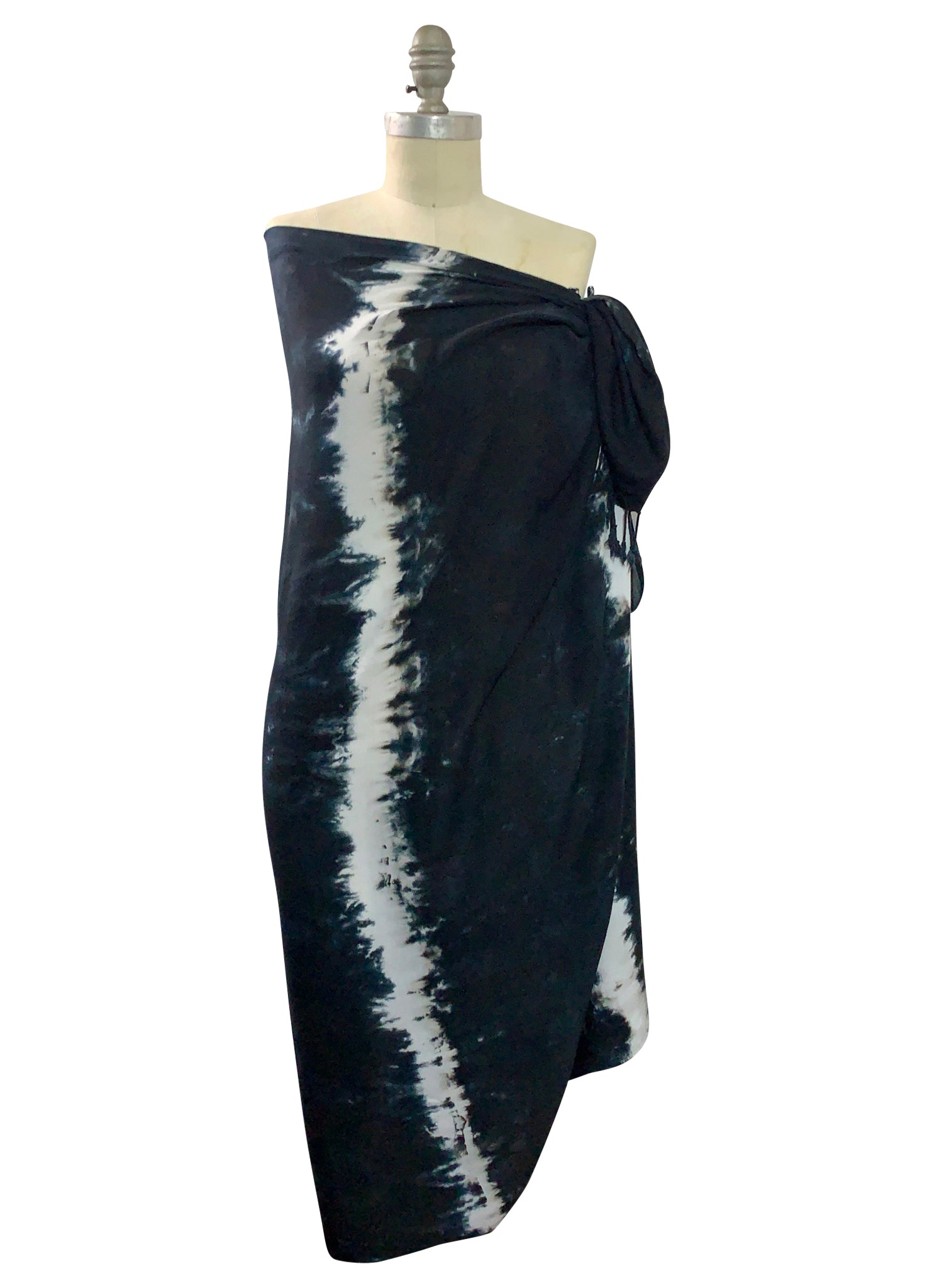 Hand Dyed Black and White Stripe Blanket-Sarong Scarf - Dyetology