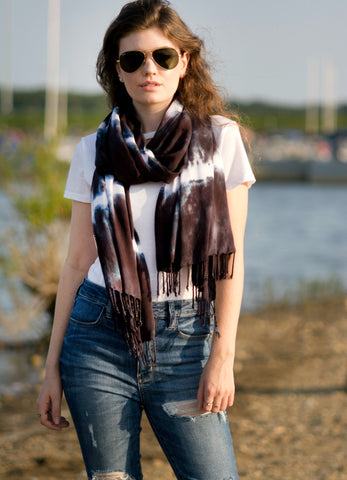 Oblong Scarf with Fringe in Pinks and Black