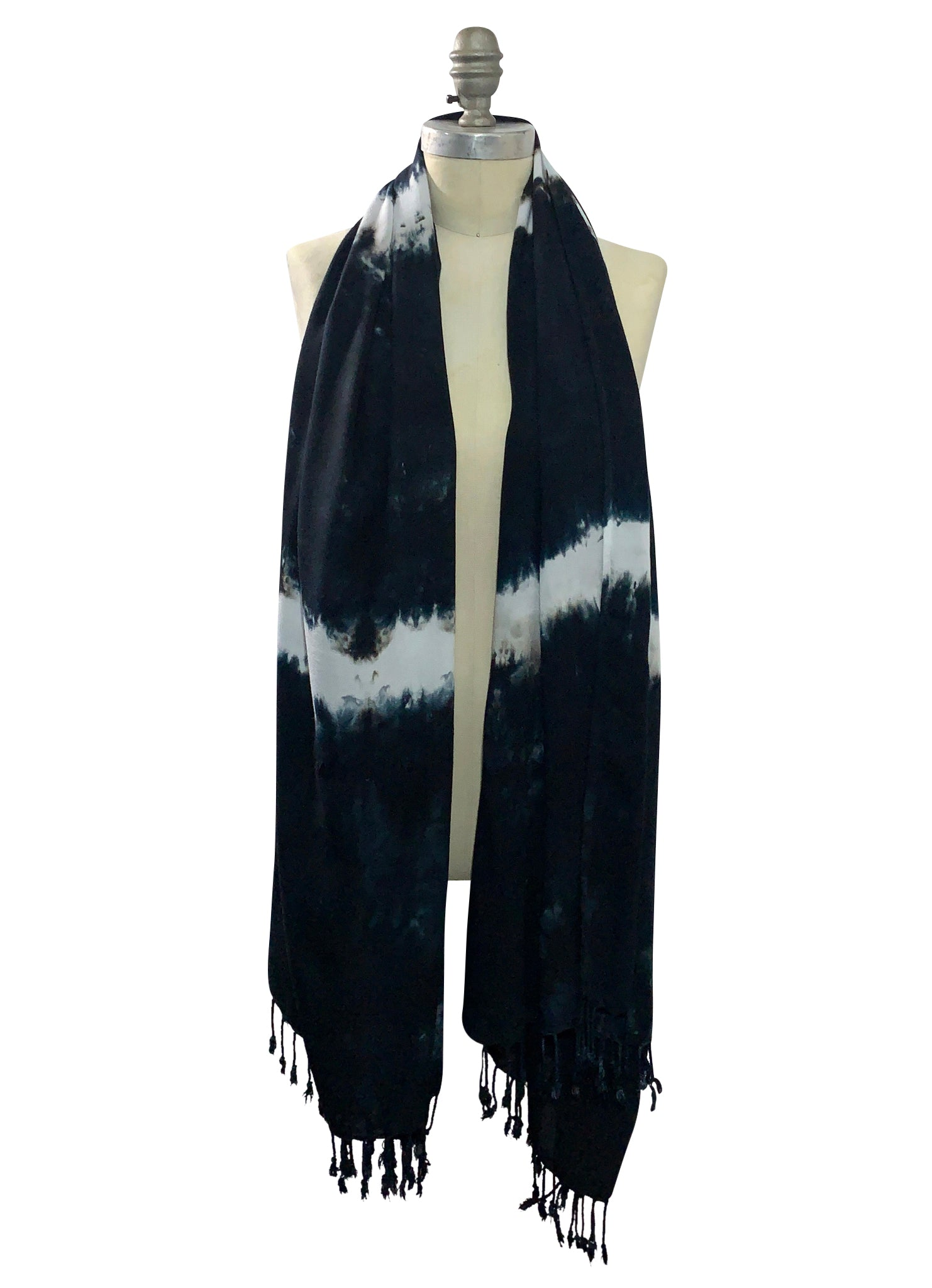 Hand Dyed Black and White Stripe Blanket-Sarong Scarf - Blanket-Sarong Scarf - Dyetology