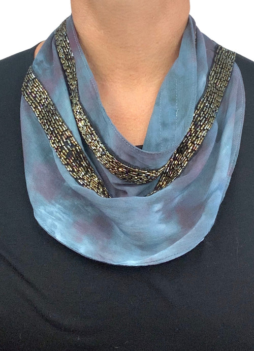 "Scarf Necklace in ""Dark Side of the Moon"" with Iridescent Black Trim - scarf necklace - Dyetology"