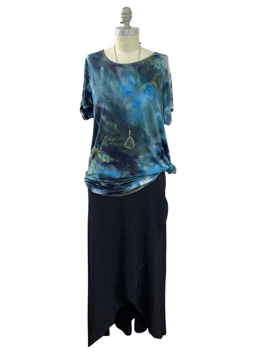 Short Sleeve Knit Tunic in Blue Morpho