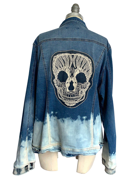 "2XL  Hand-Dyed Denim with Bleach Bottom  - ""Skully 3"" - Dyetology"