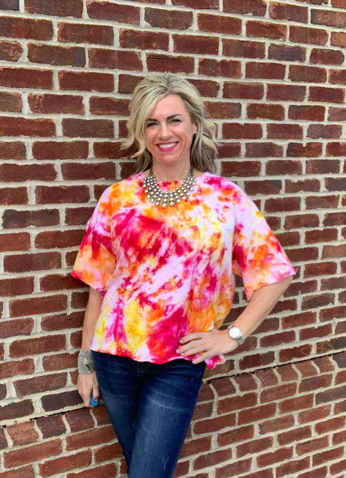 "Hand Dyed French Terry Relaxed Shirt in ""Bloom"" - Dyetology"