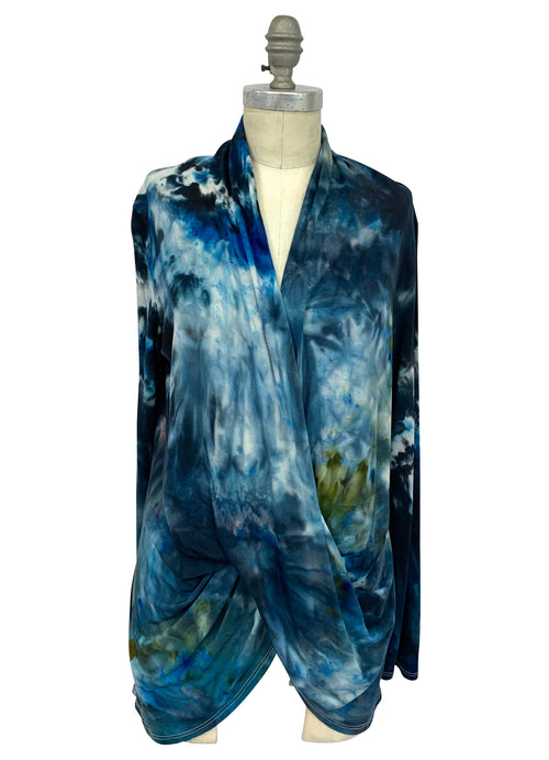 "Hand Dyed Criss Cross Blouse in ""Blue Morpho"" - Top - Dyetology"
