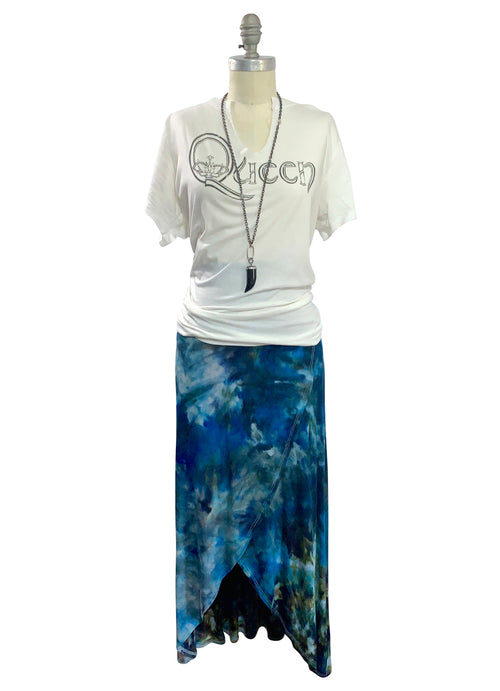 Split Hem Maxi Skirt in Blue Morpho - Dyetology