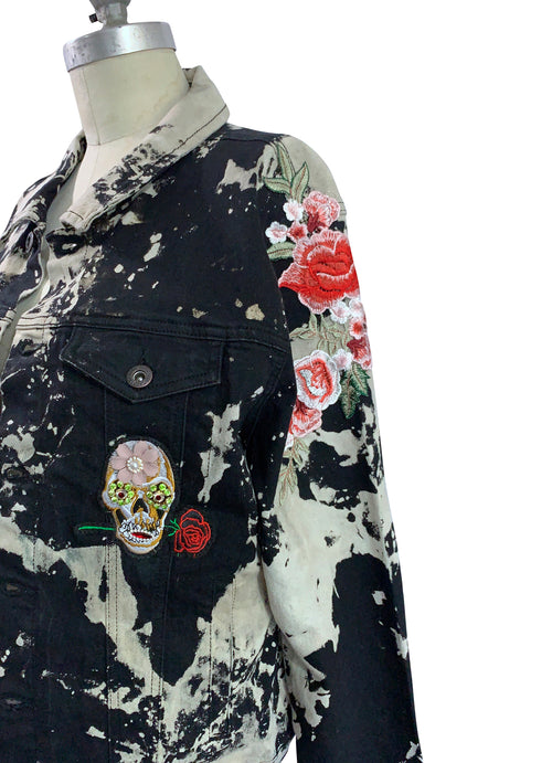 "X-Large Hand-Dyed Black and White Denim Jacket  - ""Skulls N Roses 2.0"""