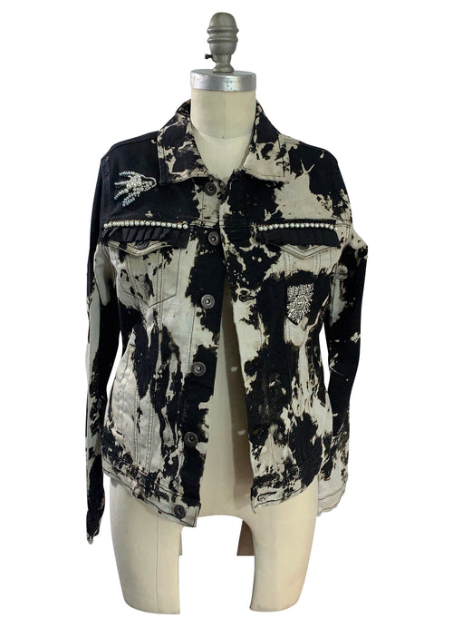"Medium Hand-Dyed Black and White Denim Jacket  - ""Pearl Parade"""