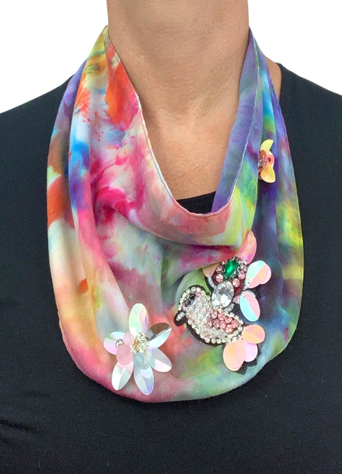"Scarf Necklace in ""Candy Land"" with Hummingbird - scarf necklace - Dyetology"