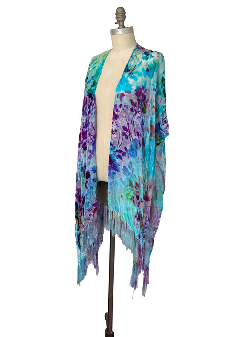 Velvet Burn-Out Fringe Shawl in Cotton Candy - Velvet Burnout Fringe Shawls - Dyetology