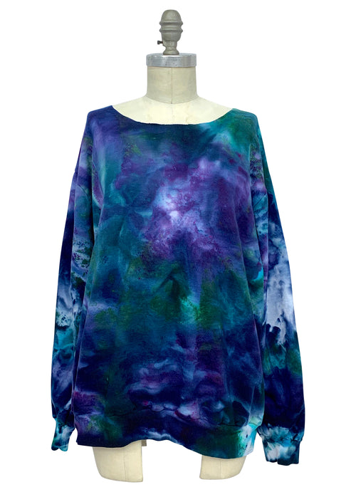 Hand Dyed Perfect Sweatshirt in Teals & Purples - Limited Release - Top - Dyetology