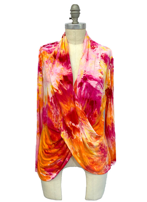 "Hand Dyed Criss Cross Blouse in ""Bloom"" - Dyetology"