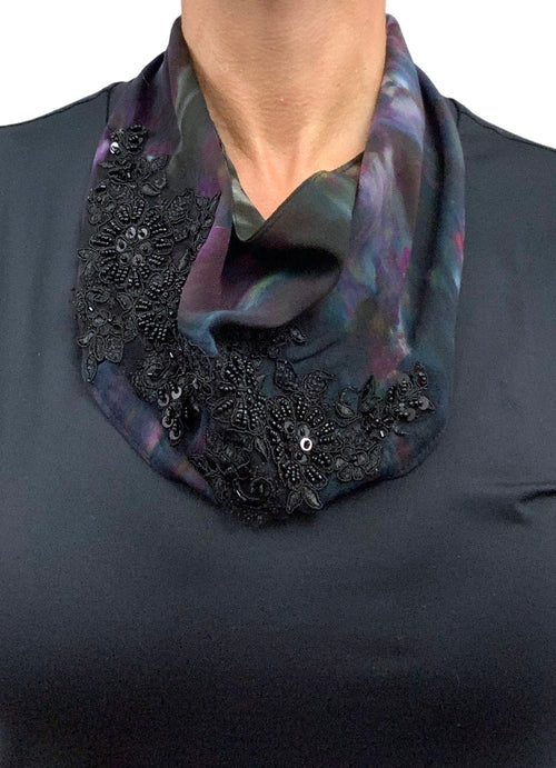 Scarf Necklace with Black Lace - Rich Jewel Tones