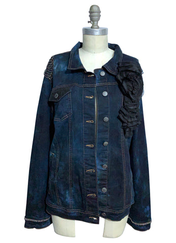 "Small Hand-Dyed Denim Jacket with Fringe - ""The Moira"""