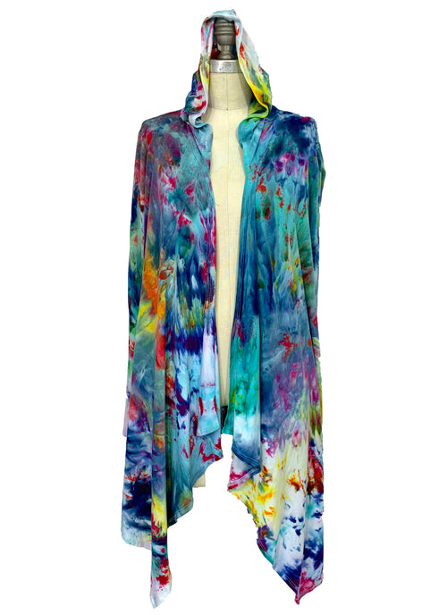 Hand Dyed Drape Front Jacket in Daydream - Dyetology