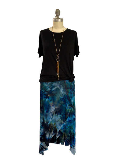 Split Hem Maxi Skirt in Blue Morpho
