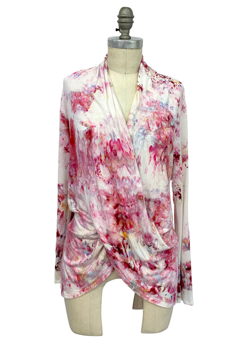 "Hand Dyed Criss Cross Blouse in ""Dusty Pink"" - Top - Dyetology"