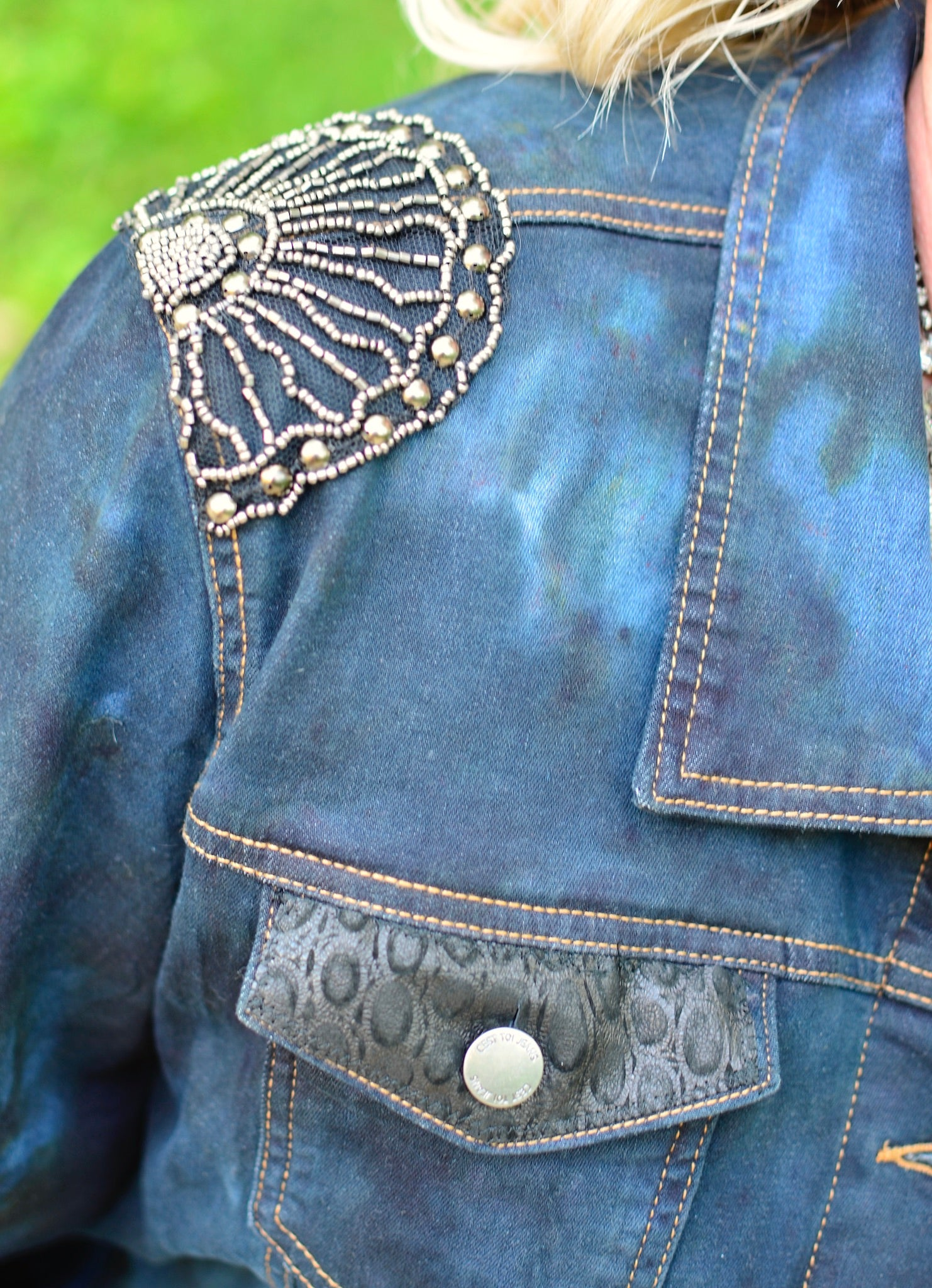 3XL  Hand-Dyed Denim with Oversized Flower  -