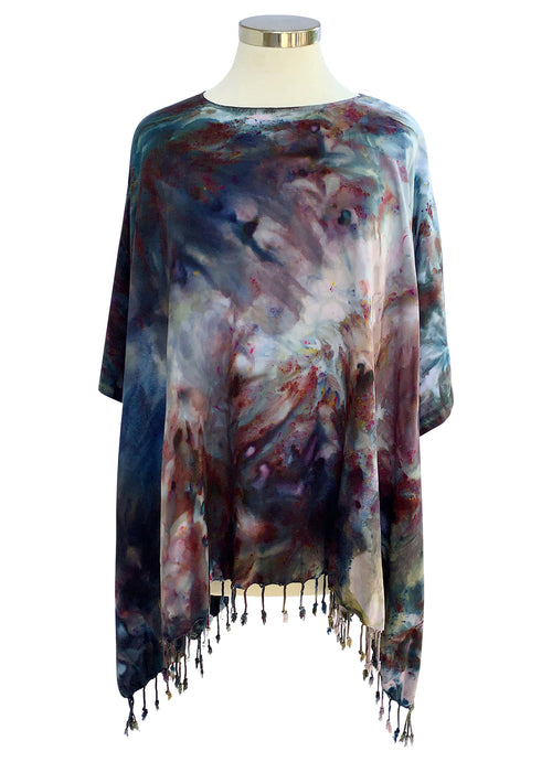 Rayon Fringed Poncho in A Night Out - Top - Dyetology