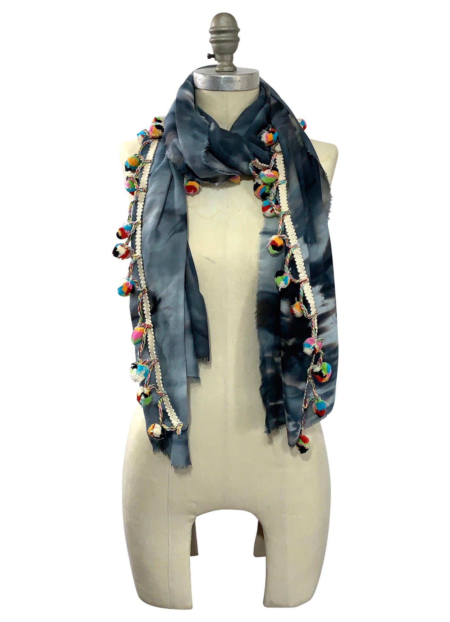 Black and White Scarf with Pom Poms - Scarves - Dyetology