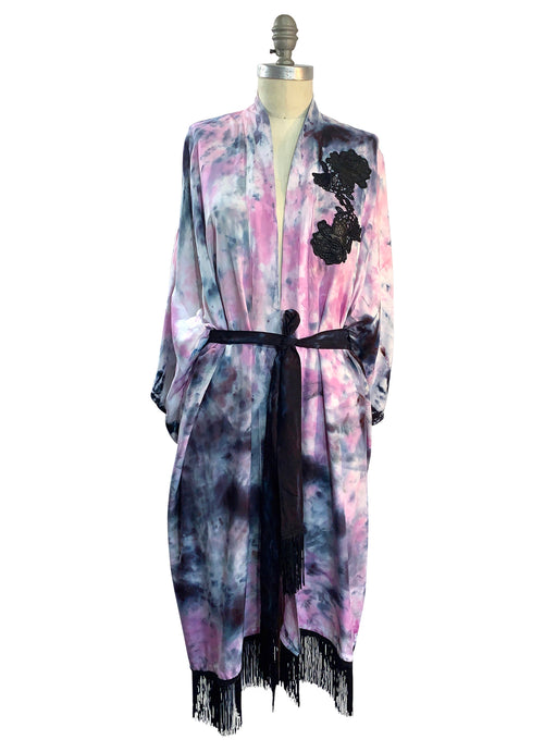 Pink and Black Kimono with Fringe - Top - Dyetology