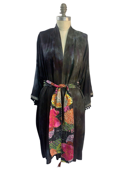 "Kimono in ""Storm"" with Kantha Belt - Top - Dyetology"