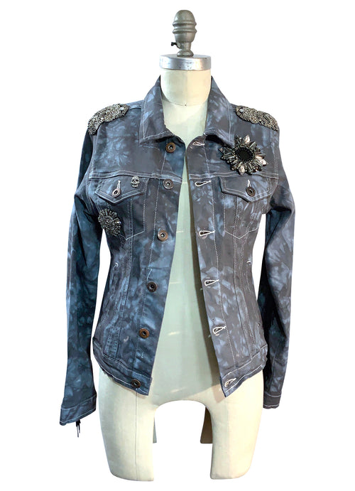 "Hand-Dyed Denim Jacket with Fringe - ""The Moira"" (Small) - Top - Dyetology"