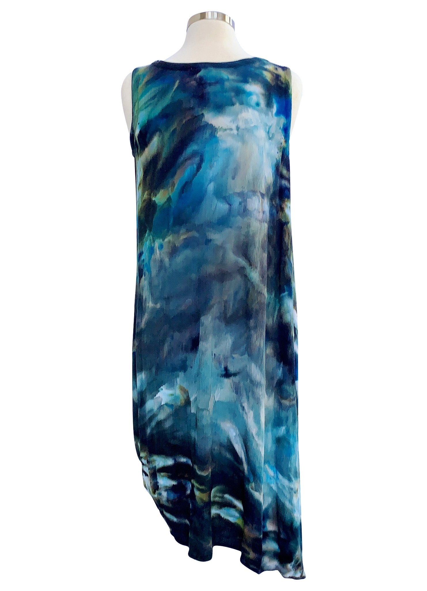 Sleeveless A-Line Dress (Rayon Gauze) in Blue Morpho - Dress - Dyetology