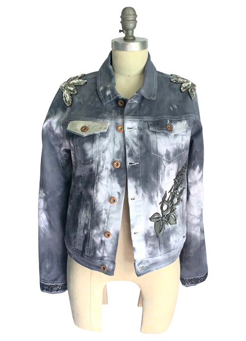 "Medium Hand-Dyed Denim Jacket with Silver Accents - ""Silver Fox"""