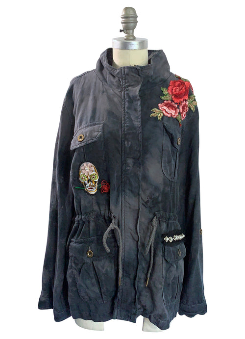 "Large Hand-Dyed Tencel Utility Jacket - ""Skulls and Roses 3"""