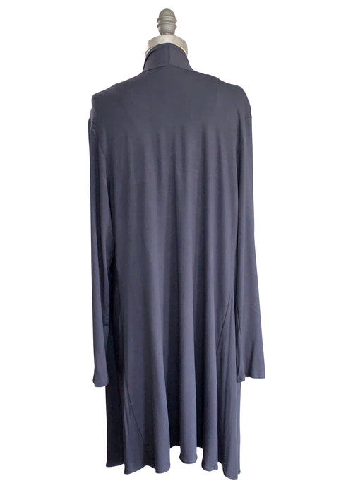 Drape Front Jacket in Solid Dark Gray - Top - Dyetology