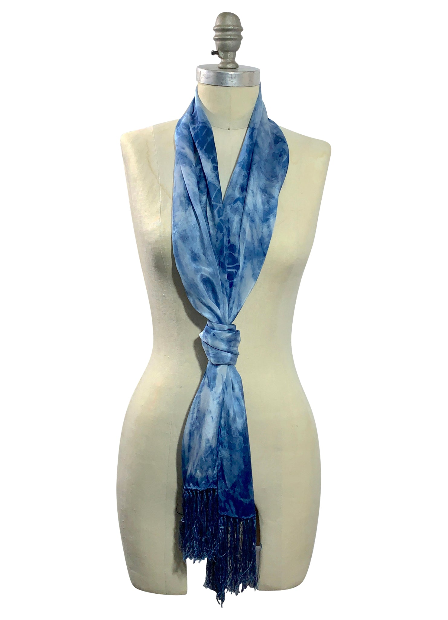 Indigo Silk Scarf with Fringe - Scarves - Dyetology